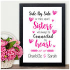 Personalised Sisters Connected By Heart Birthday Christmas Gifts for Sisters Her