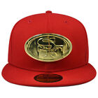 San Francisco 49ers METAL BADGE Fitted 59Fifty New Era NFL Hat - Scarlet/Gold