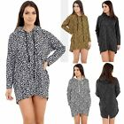 Womens Ladies Animal Leopard Print Over Sized Baggy Hooded Top Jumper Dress