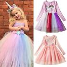 Kids Girls Unicorn Princess Fancy Dress Formal Party Pageant Tulle Tutu Dress US