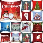 Cotton Pillow Case Velvet Cushion Cover Merry Christmas Home Decoration 18'' US image