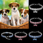 Bling Rhinestone Dog Collars Puppy Necklace with Bone Cute for Small Dog Gift US