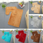 3pcs Bathroom Set Rug Non-slip Solid Color Contour Mat Toilet Lid Cover Bathmats