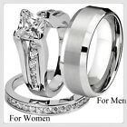 His and Hers 925 Silver Stainless Steel & Titanium Wedding Band Ring Jewelry Set