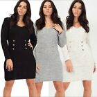 Womens Ladies Ribbed Knitted ButtonPopper Stretch Short Mini Bodycon Party Dress