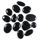 NATURAL BLACK ONYX ALL CABOCHON GEMSTONE 489.60 Cts 14 Pcs BSET SELLER