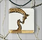 GIRAFFE AFRICA WILD LIFE MOTHER LOVE SQUARE PENDANTS NECKLACE OR EARRINGS -yth7Z