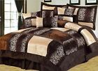 Brown & Black Safari Animal Leopard Print Comforter Set - 7 Piece Suede