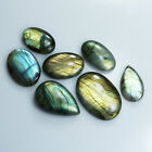 NATURAL LABRADORITE 244.60Cts OVAL SHAPE CABOCHON GEMSTONE 7Pcs FROM MADAGASCER
