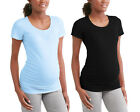 Oh! Mamma Maternity Short Sleeve Tee w/ Flattering Side Ruching, 2-Pack