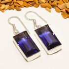 "MIND BLOWING MADGASCAR IOLITE GEMS. HANDMADE SILVER PLATED EARRING 1.65"" E-784"