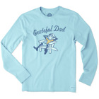 Life is Good Men's Long Sleeve Crusher T-Grateful Dad on Bleach Blue-Size 3XL