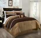 Chezmoi Collection 7-Piece Coffee Brown Pleated Stripe Micro Suede Comforter Set image