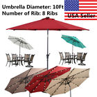 10' FT Patio Solar Umbrella LED Patio Market Steel Tilt W/ Crank Outdoor Garden