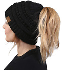 Funky CC Ponytail Messy Bun BeanieTail Womens Beanie Solid Ribbed Hat Cap winter