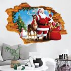 3d Christmas Santa Claus Elk Wall Stickers Living Room Window Decals Home Decor