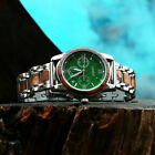 LEEEV Wooden Watches for Men Relogio Masculino Steel & Wood Watch Xmas Gift Men image