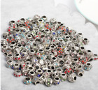 mix wholesale 925 Silver CZ Charm Beads Pendant Fit Bracelet Necklace Chain