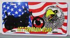 "LET FREEDOM ROAR bike flag eagle vanity license plate metal  6""x12"" Made in USA"