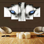 Framed Home Decor Animals Blue Eyes Wolf Canvas Prints Painting Wall Art 5PCS
