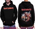 IRON MAIDEN TROPPER FRONT AND BACK PRINT HOODIES PUNK BLACK METAL MEN'S SIZES