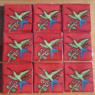 """4~Talavera Mexican Pottery Tile 2"""" Classic red lime green hummingbirds flowers"""
