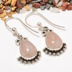 Purchritudinous Madgascar Rose Quartz Gemstone 925 Sterling Silver Earring 1.58""