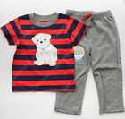 Carter's Baby Boy Red Striped dog applique Tee t-shirt striped pants 2pc set