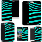 Gel case for most mobile phones cover bumper- aqua zebra print silicone. günstig