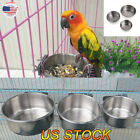 Bird Pet Water Feeding Fed Cups With Clamp Stainless Steel Parrot Cage Holder US