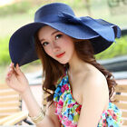Women Big Brim Straw Hat Sun Floppy Wide Brim Hats Bowknot Folding Beach Caps