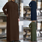 Внешний вид - Mens Muslim Middle East Long Sleeve Loose Arab Thobe Islamic Solid Kaftan Robes