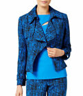 Anne Klein Printed Jacquard Cropped Trench Jacket Bizet Blue Black