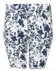 Womens 14-28 New Blue White Knee Length Stretch Denim Turn Up Shorts Womens