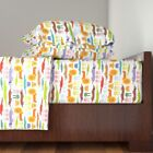 Zoo Lion Rabbit Bunny Crocodile Dog 100% Cotton Sateen Sheet Set by Roostery