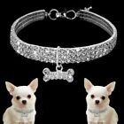 Crystal Diamante Cat Dog Collars Fancy Bling Rhinestone Dog Necklace  S M L