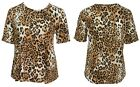 Womens New Leopard Print Sparkly Silver Polka Short Sleeve T-shirt Top Animal