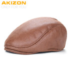Beret Hats New Plain PU Berets Caps with Fur Inside for Men Casual Peaked Caps