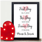 Personalised Memorable Dates Gifts for Mr & Mrs Husband Wife Christmas Prints
