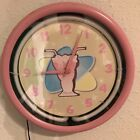 Retro 50's Style Pink Neon Light Milkshake Wall Clock AA Battery