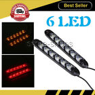 2pcs Car Flowing 6-LED Light Strip Arrow Flasher DRL Turn Signal Lamp Red/Amber