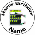 "Personalised Birthday Fomula 1 Its Hammer Time Round 8"" Precut Icing Cake Topper"