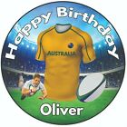"Personalised Birthday Cake Topper 8"" Icing Decoration Rugby Shirt Austraila"