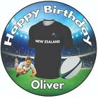 "Personalised Birthday Cake Topper 8"" Icing Decoration Rugby Shirt New Zealand"