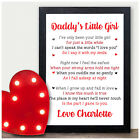 Personalised Daddy's Little Girl Gifts from Daughter Valentines Birthday Gifts