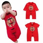 Newborn Baby Kids Red Clothing Chinese Lunar New Year Tang Suit Cotton Jumpsuit