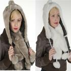 RUSSIAN STYLE FAUX FUR LUXURY LINED TRAPPER HAT& SCARF with POM POMS winter
