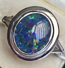 BIG PLATINUM ON SILVER Australian Boulder OPAL SOLITAIRE   RING SIZE R (3.000ct