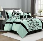 7-Piece Aqua Blue Black Flocked Floral Comforter Set or  4pcs Curtain image