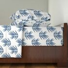 Japanese Geometric Bamboo Blue Spring 100% Cotton Sateen Sheet Set by Roostery image